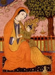Old Persian Miniature of Virgin Mary and Jesus, from Wikimedia Commons